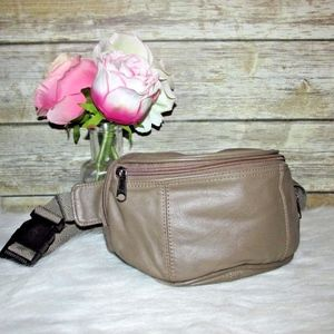 Vintage Light Taupe Brown Leather Fanny Waist Pack